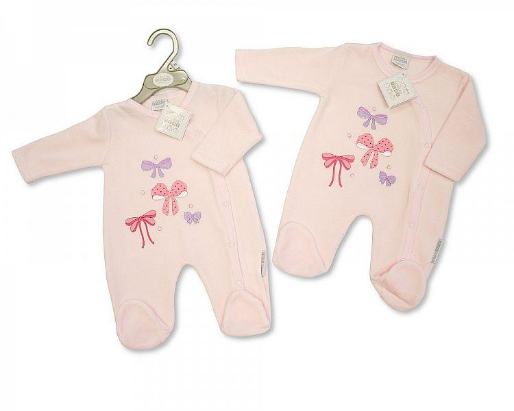 Baby Girls Velour All in One - Bows - Kidswholesale.co.uk