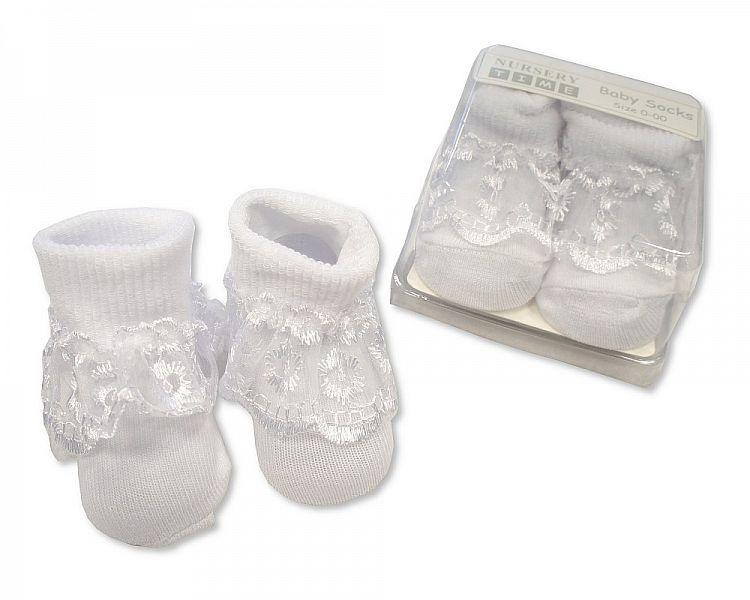 Baby Lace Socks in Box - Rose & Bow - White - (BW-61-2167W)