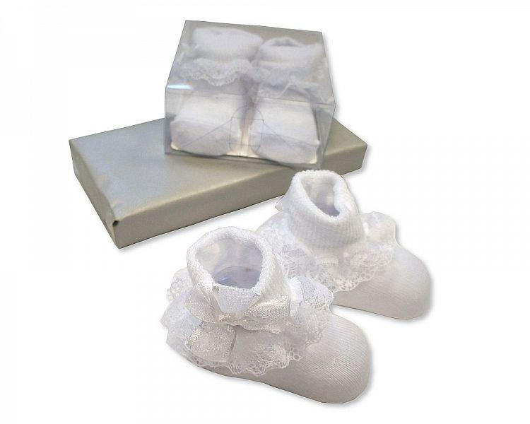 Baby Lace Socks in Box - White [BW-61-2168W] - Kidswholesale.co.uk