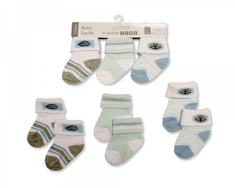Baby Boys 3 Pack Socks - Anchor - 0-6M (BW-61-2194) - Kidswholesale.co.uk