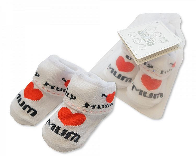 Baby Socks in Mesh Bag - I Love Mum