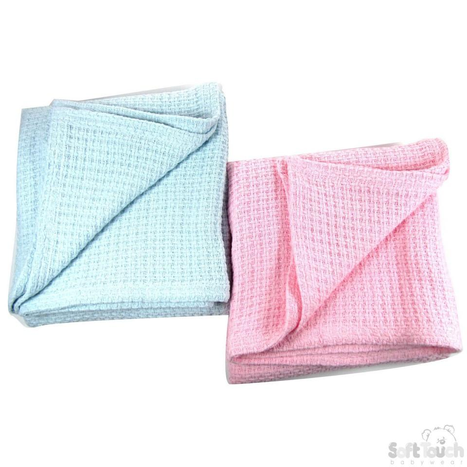 SOFT TOUCH INFANTS COTTON COT BLANKET SOFT & COSY