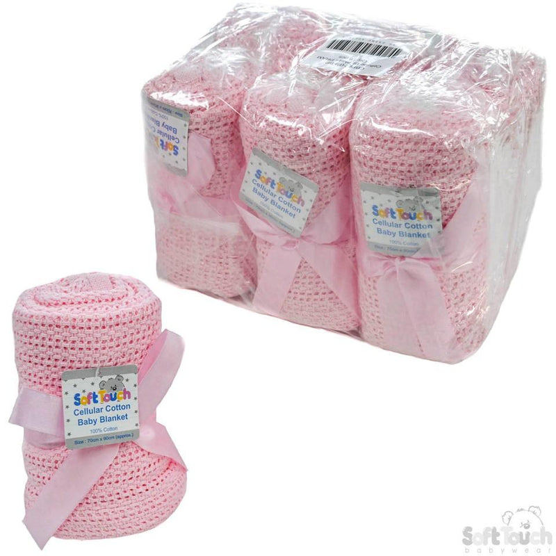 Pink Cellular Cotton Baby Blanket (Bulk Pack): CBP62-BP-P - Kidswholesale.co.uk