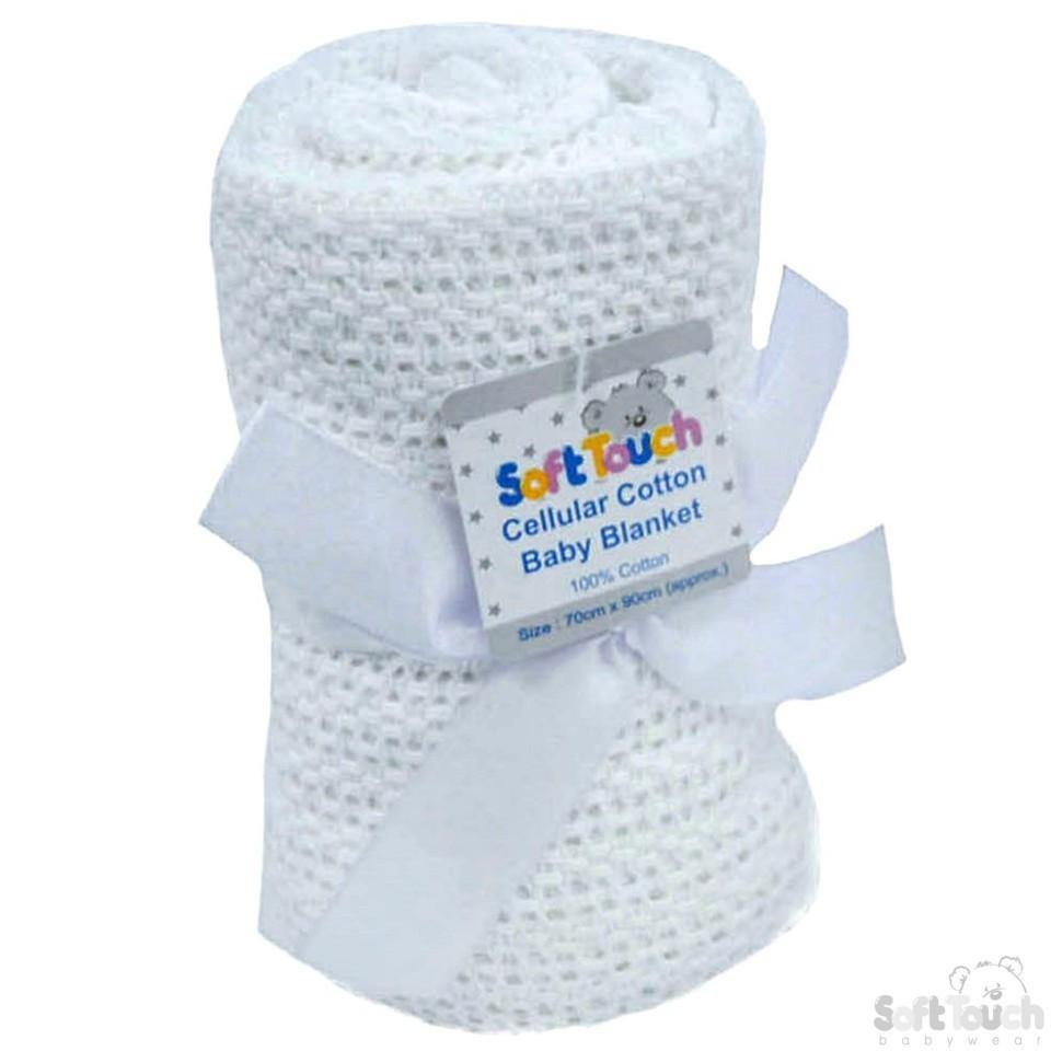 White Cellular Cotton Baby Blanket (Bulk Pack): CBP62-BP-W