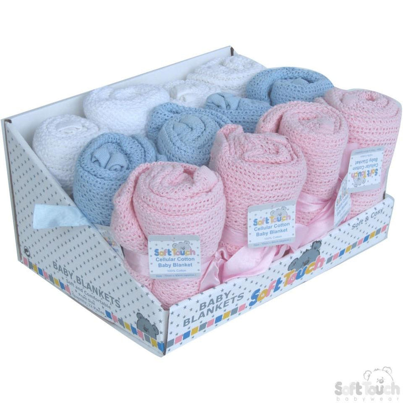 Cellular Cotton Baby Blanket (Display Box): CBP62-DB - Kidswholesale.co.uk