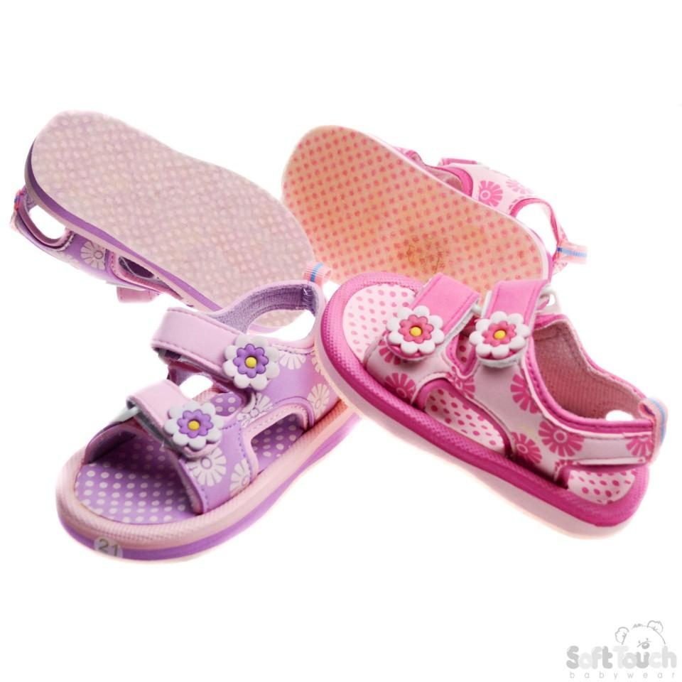 Girls Floral Print TPR Sole Sandals 21/36M (e302)