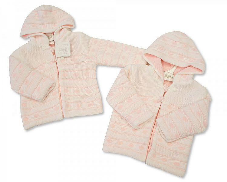 Knitted Baby Girls Pram Coat - NB/6M (Bw 1015-615) - Kidswholesale.co.uk