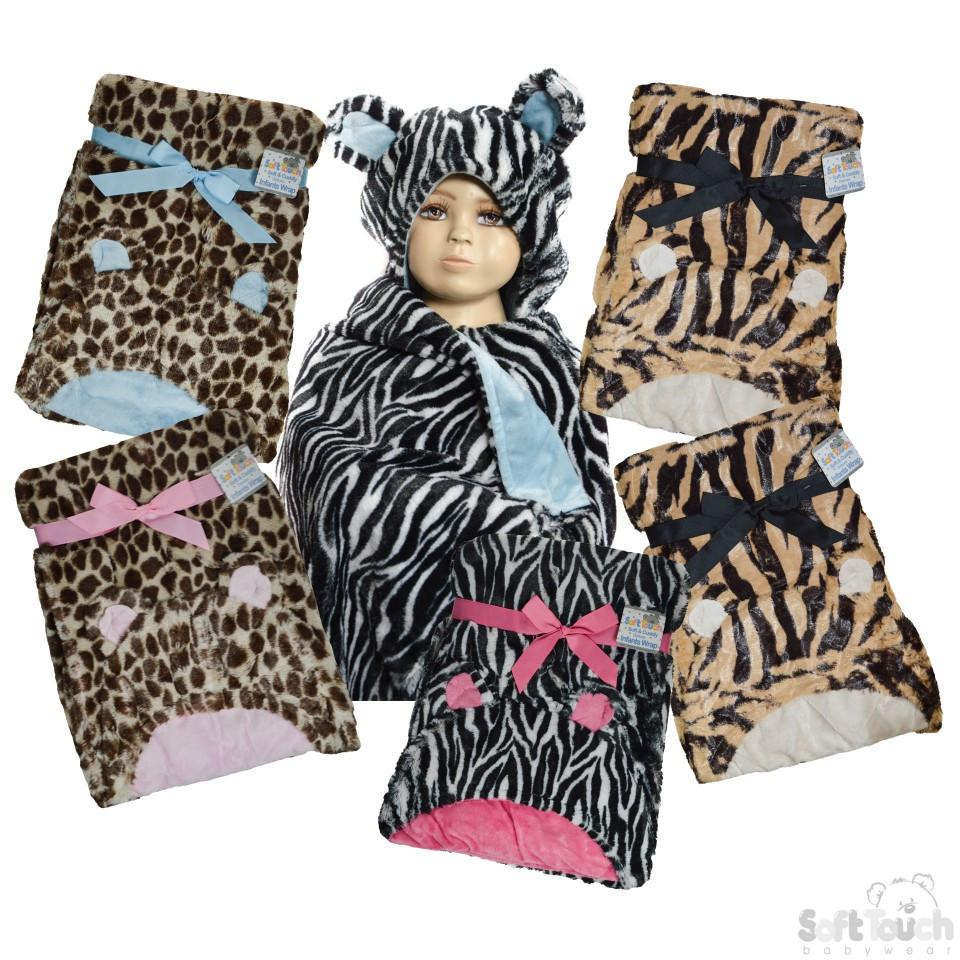 PLUSH ANIMAL HOODIE WRAP: FBP102 Fleece Lining