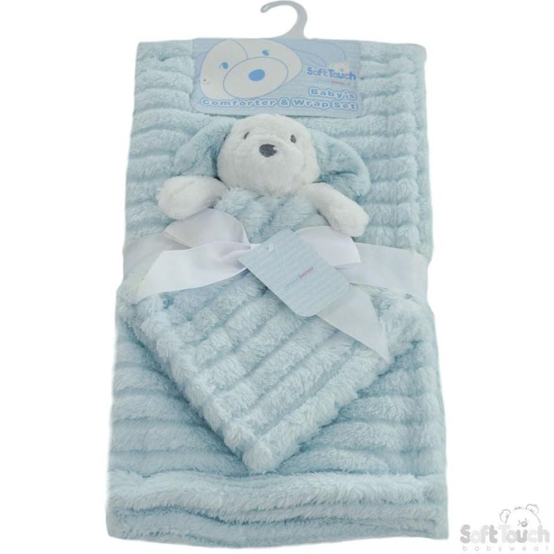 Blue Striped Super Plush Wrap W/Puppy Comforter (FBP144-B) - Kidswholesale.co.uk