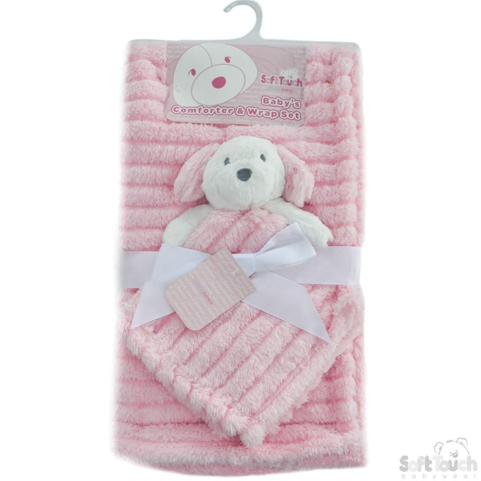 Pink Striped Super Plush Wrap W/Puppy Comforter (FBP144-P)