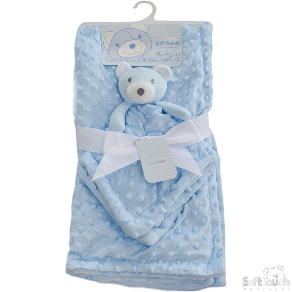 Blue Reversible Bubble Mink Wrap W/Plain Flannel Back & Toy Comforter (FBP146-B)