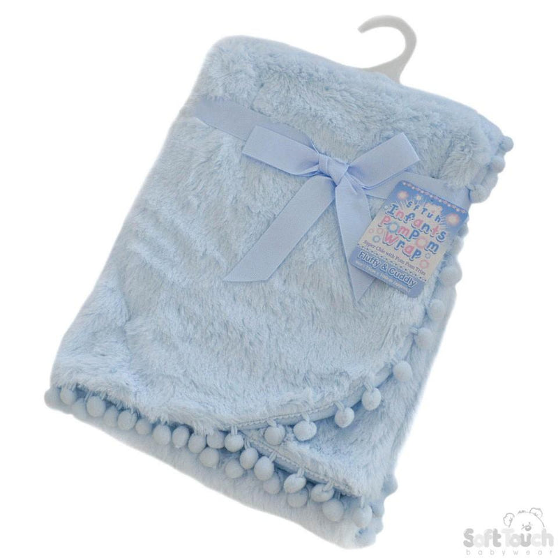 Blue High Pile Wrap W/Pom Pom Trim: FBP170-B - Kidswholesale.co.uk