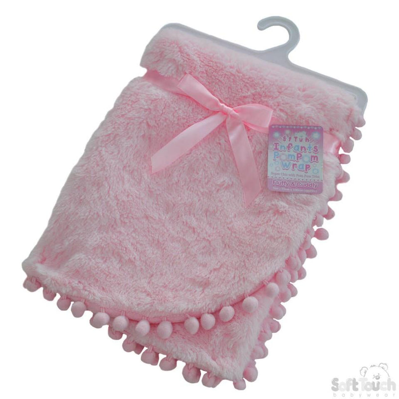 Pink High Pile Wrap W/Pom Pom Trim - FBP170-P - Kidswholesale.co.uk