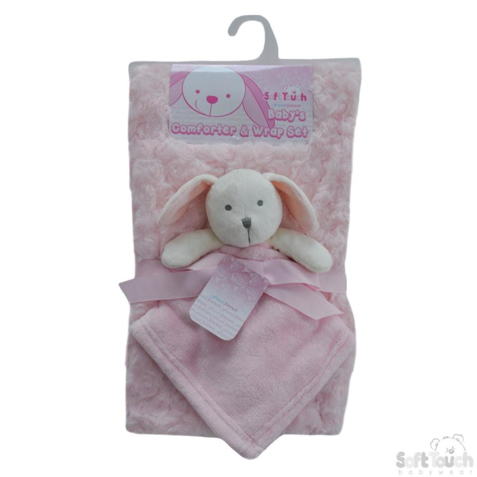 Pink Rose Wrap W/Flannel Back & Puppy Comforter: FBP174-P
