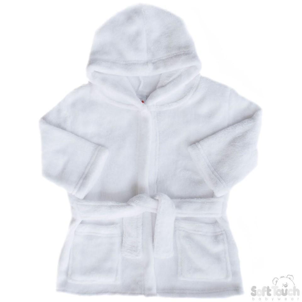 Infants White Coral Fleece Hooded Robe - 6/24M - FBR15-W