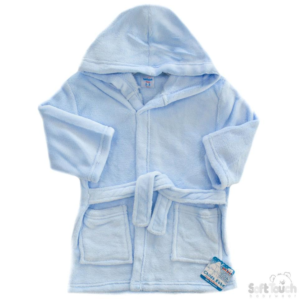 Children's Blue Coral Fleece Hooded Robe - 2/6 Years - FBR17-B