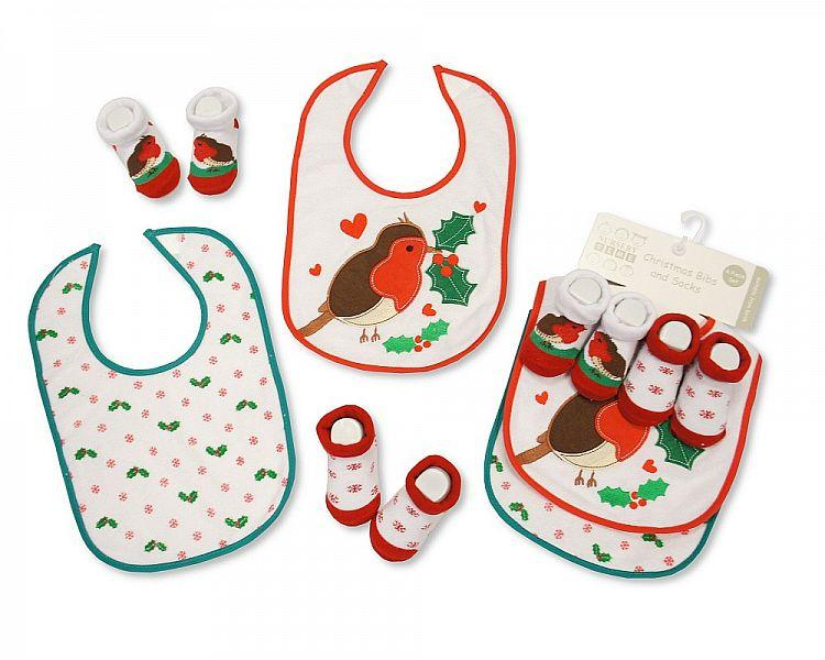 Baby Christmas Bibs and Socks 4 pcs Set - Birds - [GP-25-0688]