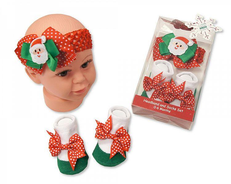 Baby Headband and Socks Set - Santa