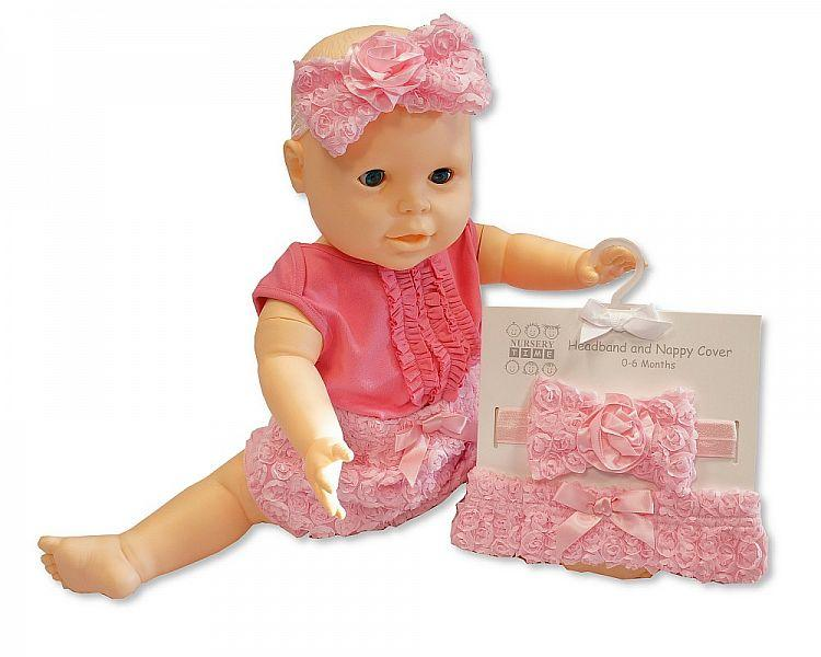 Baby Girls Cotton Nappy Cover and Headband Set [GP-25-0788]