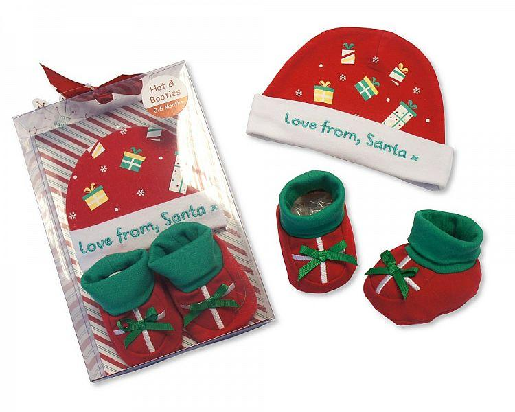 Baby Hat & Booties Cotton Gift Set - Love from Santa - (GP-25-0814) - Kidswholesale.co.uk
