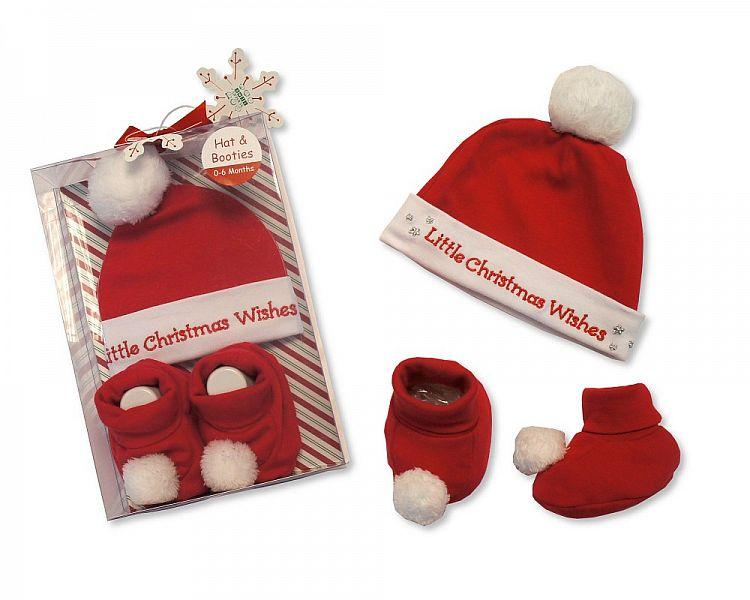 Baby Hat & Booties Cotton Gift Set - Little Christmas Wishes - (GP-25-0815)