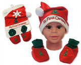 Baby Hat and Booties Gift Set - My First Christmas - Red [GP-25-0838]