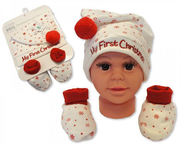 Baby Hat and Booties Gift Set - My First Christmas - Cream [GP-25-0839]