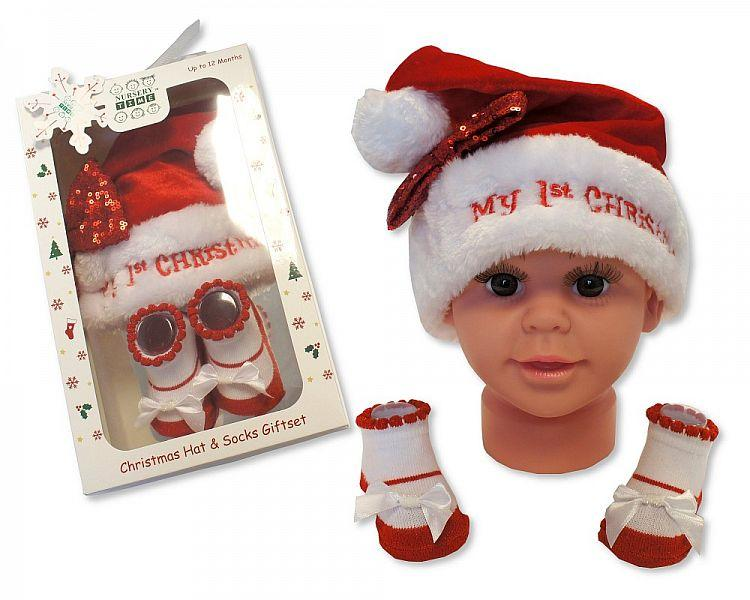 Baby Girls Hat and Socks Gift Set - My First Christmas - (GP-25-0843) - Kidswholesale.co.uk
