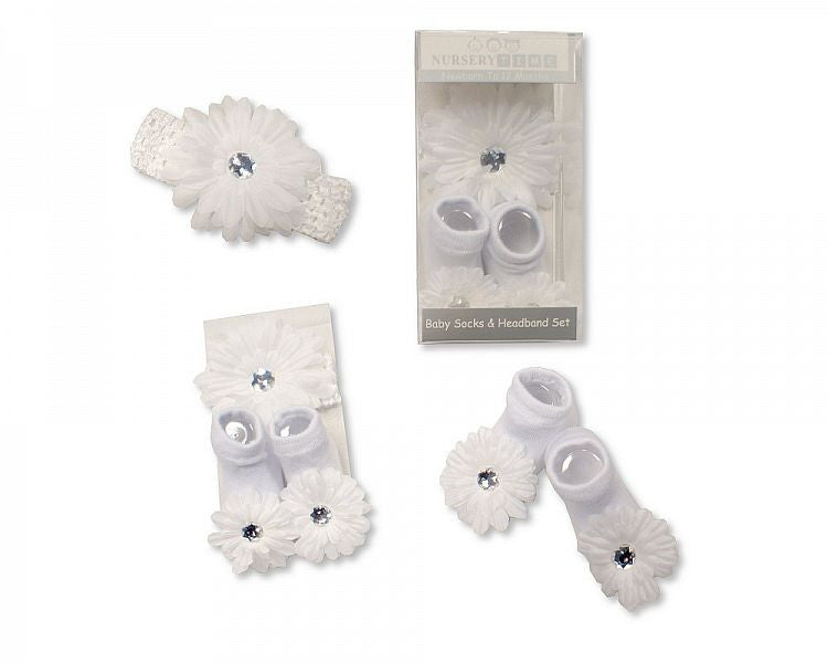 Baby Girls Socks and Headband Set - White Flower
