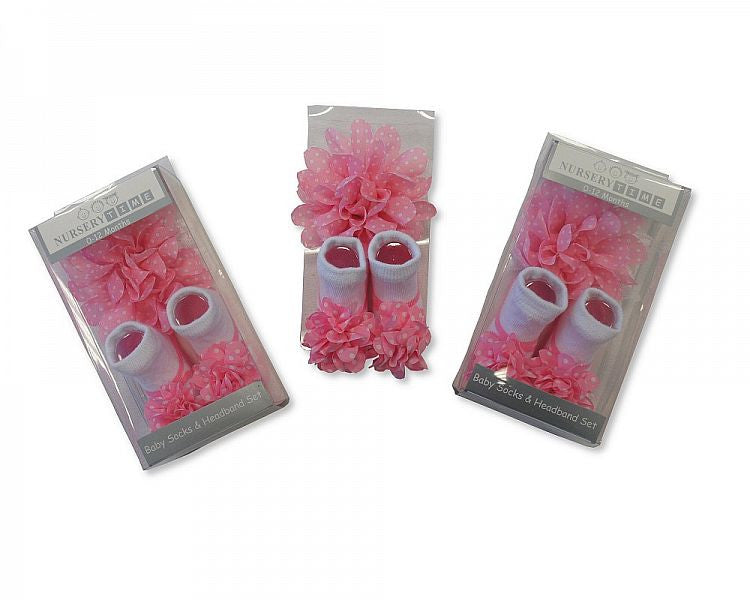Baby Girls Socks and Headband Set with Clip - Pink Flower