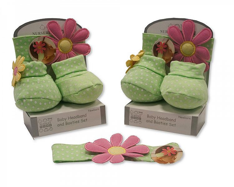 Baby Girls Bootie and Headband Set - Green