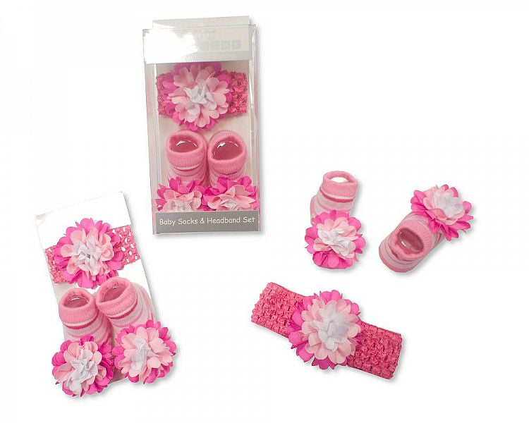 Baby Socks and Headband Set - Pink Flower (GP-2515-0656)
