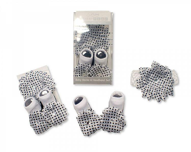 Baby Socks and Headband Set - Black Dots - Gp 2515-0658