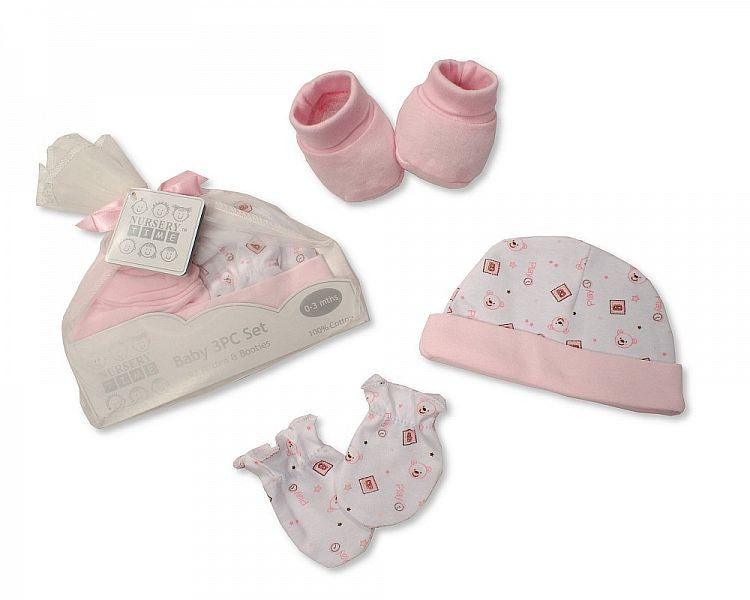 Baby Hat Mitten and Booties Set in Mesh Bag - Pink