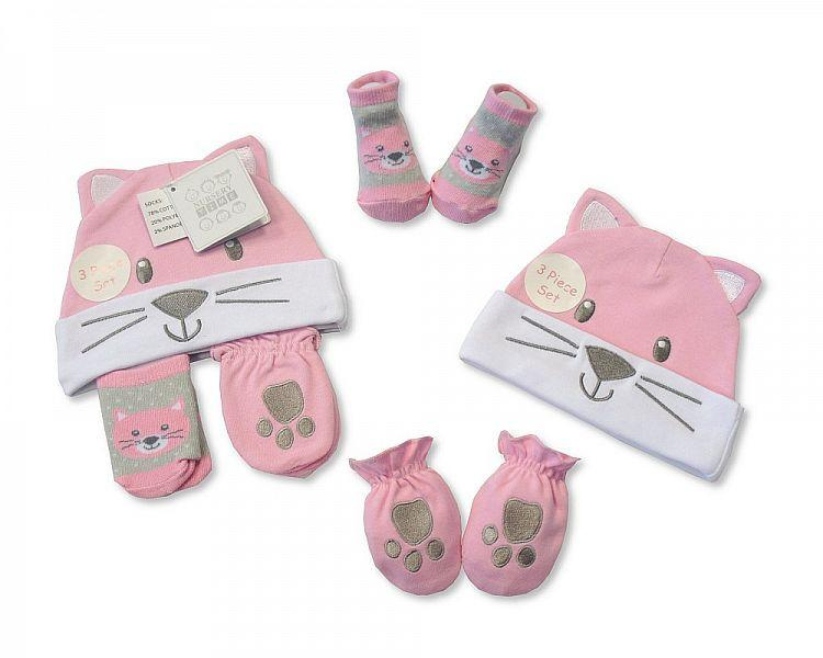Baby Hat, Socks and Mitten Set - Cat (Gp 2516-0677) - Kidswholesale.co.uk
