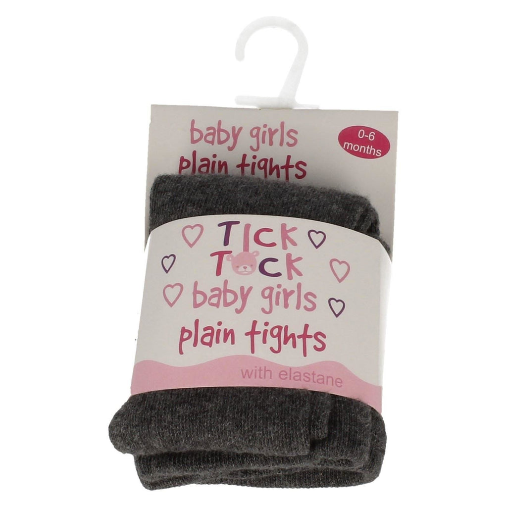 SOFT BABY GIRLS TICK TOCK PLAIN STRETCHY TIGHTS (45b033)
