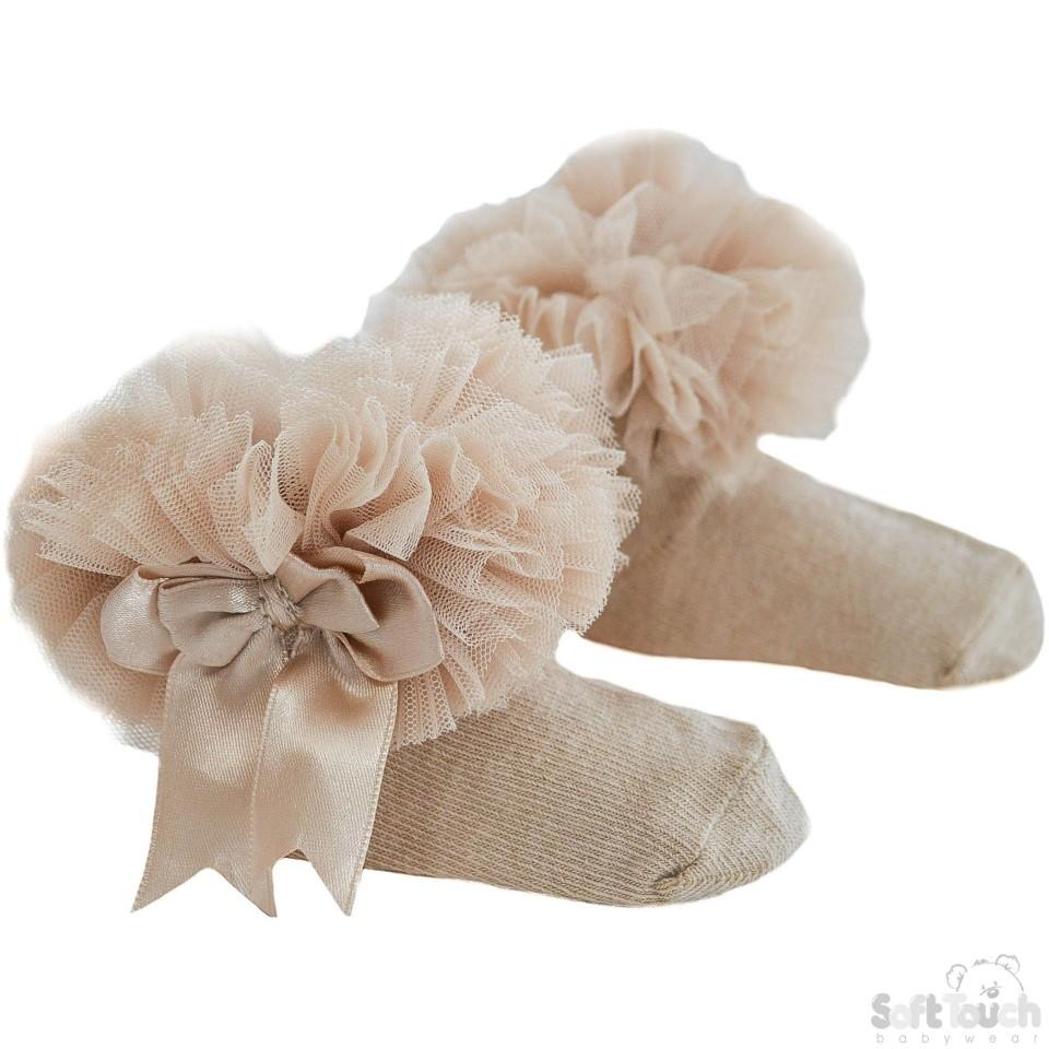 Beige Medium Plain Frilly Pink Socks W/Organza Lace & Bow: GS116-BE