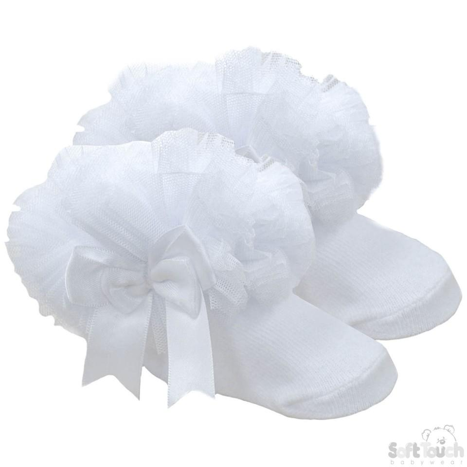 Small Plain Frilly Socks W/Organza Lace & Bow -0-6 Month - GS114-W