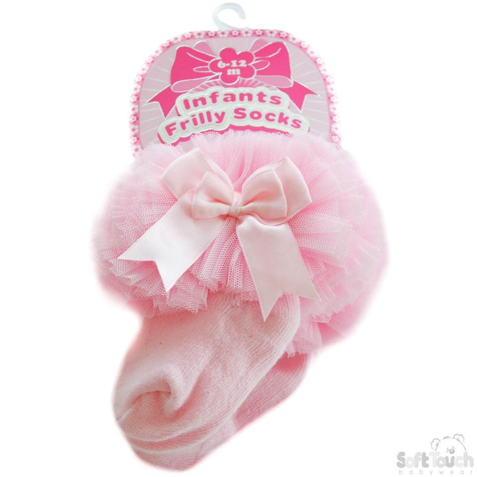 Medium Plain Frilly Pink Socks W/Organza Lace & Bow: GS116-P