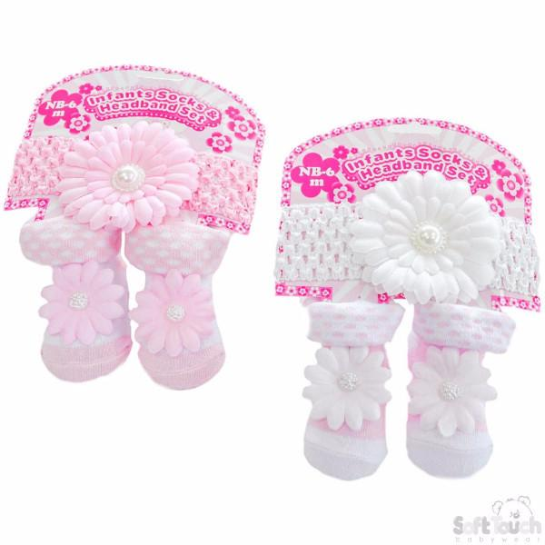 Girls Floral Headband & Sock Set: GS41 - Kidswholesale.co.uk
