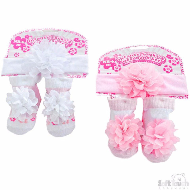 Girls White & Pink Headband & Sock Set: GS43 - Kidswholesale.co.uk