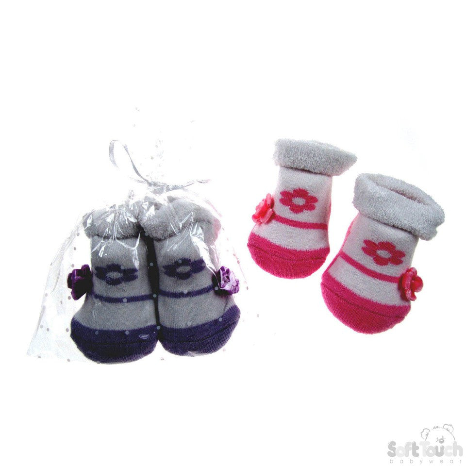 GIRLS TERRY TURNOVER GIFT SOCKS: GS58