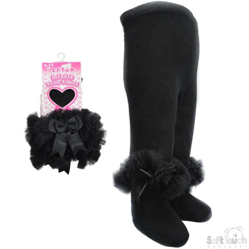 Black Frilly Gift Tights W/Organza Lace & Bow - 0-12 Months  (GT62-BLK) - Kidswholesale.co.uk