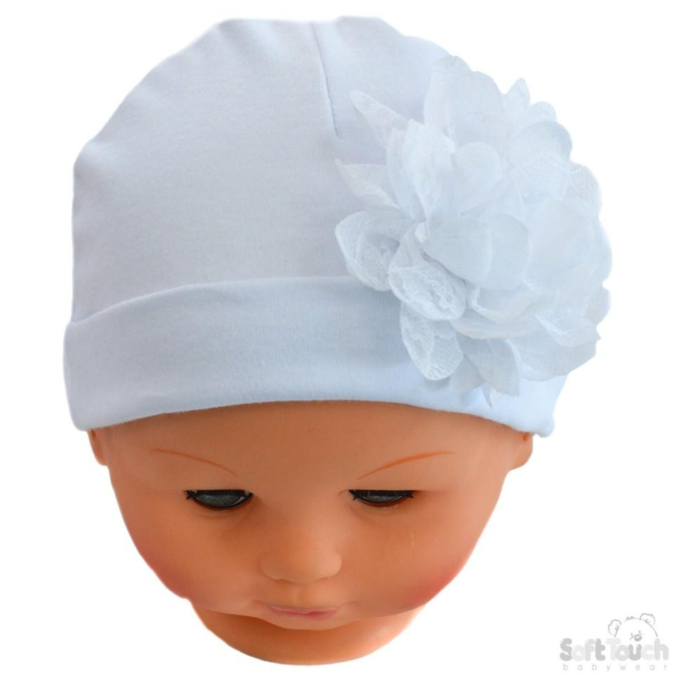 Plain White Hat W/Large Flower (0-18 Months) H11-W