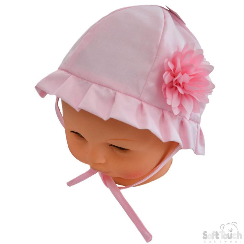 Plain Hat W/Large Flower (0-24 Months) H22 - Kidswholesale.co.uk