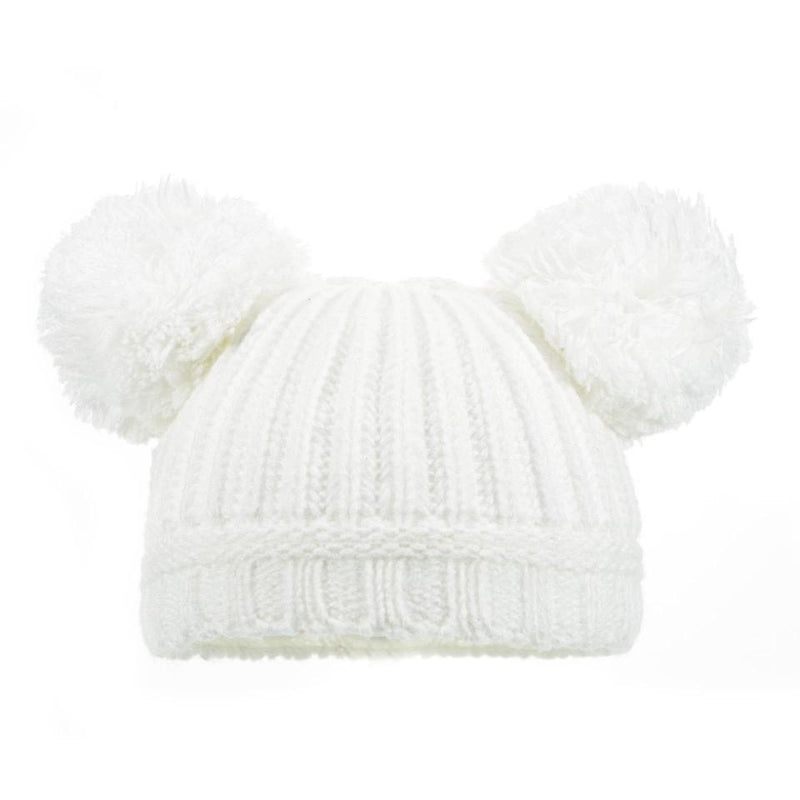 Baby Pom Pom Hat - Newborn - 12 Month (H460-W-SM) (White) - Kidswholesale.co.uk