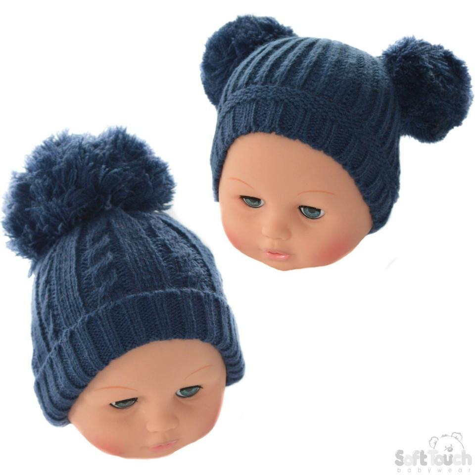 Medium Navy Pom-Pom Winter Hat 12-24M (H476-N-M)