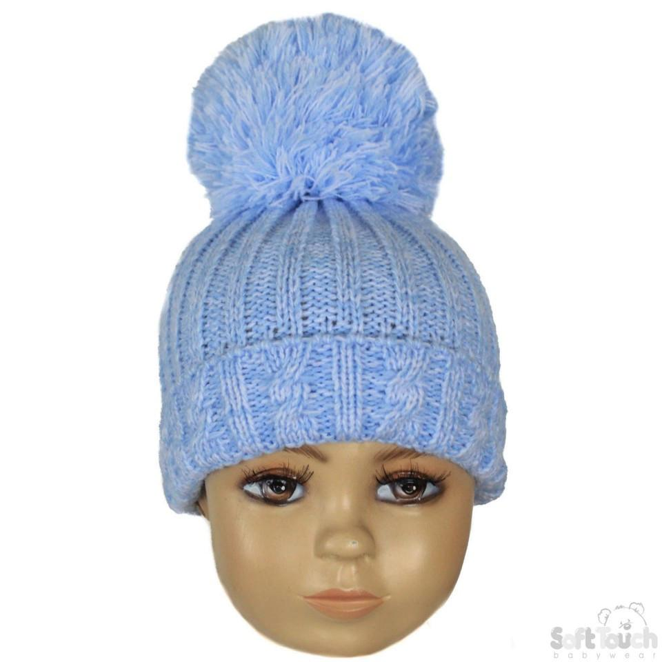 Small Blue Cable Knit Pom-Pom Winter Hat 0-12M (H480-B-SM)