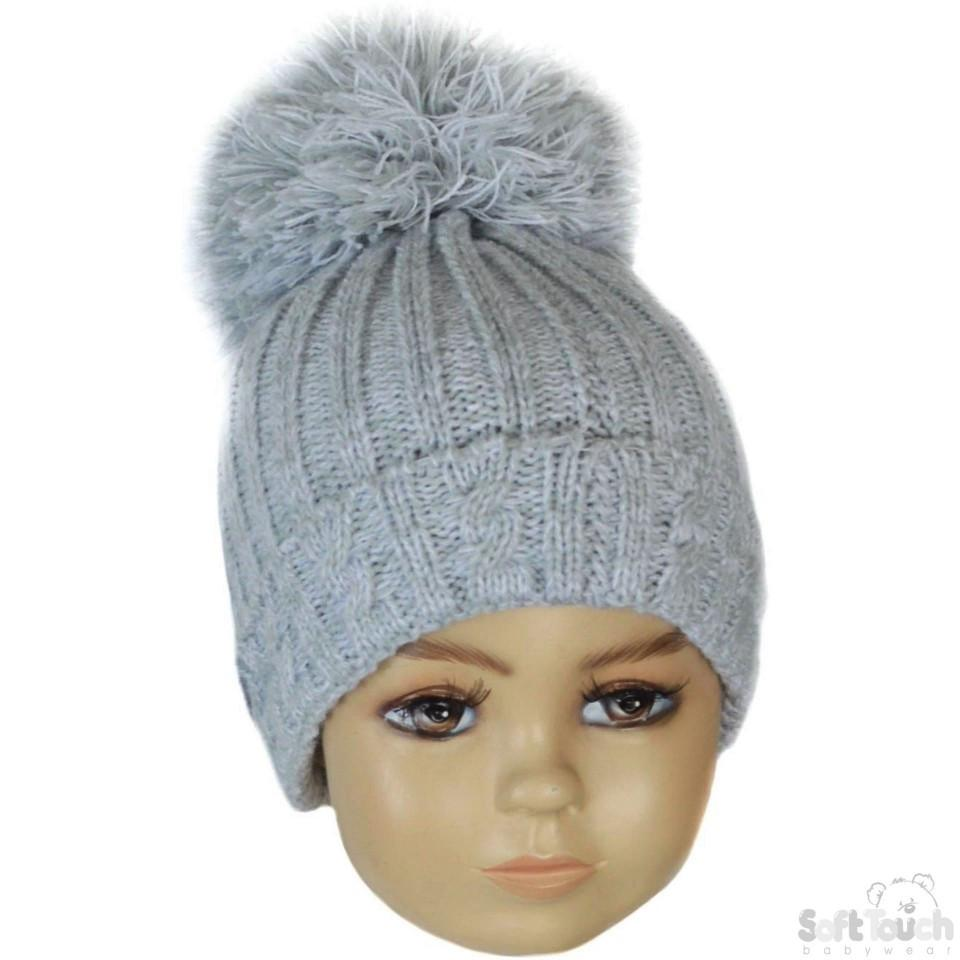 Small Grey Cable Knit Pom-Pom Winter Hat 0-12M (H480-G-SM)