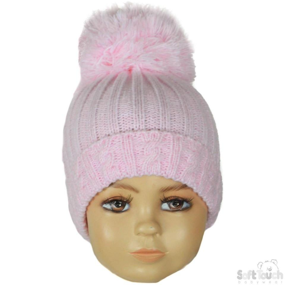 Small Pink Cable Knit Pom-Pom Winter Hat 0-12M (H480-P-SM)